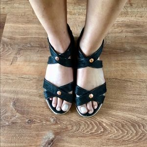 Black Strappy Sandal with Rose Gold Hardware